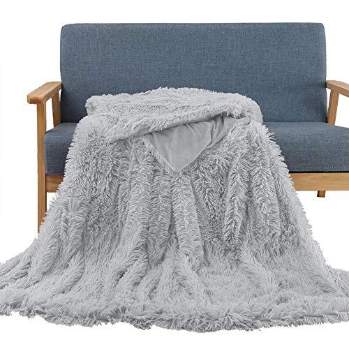 Manta peluche doble cara pelo largo suave sofá moqueta