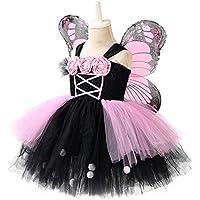 YCWY Traje de Princesa de Vestir para niñas, en Capas de Tul Falda del tutú demostración de la Etapa del Traje con alas y Varita mágica Conjunto de 3,S