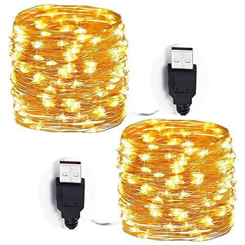 LED Guirnalda Luces, Adomor [2 Pack] USB 10m 100LED Cadena de Luces...
