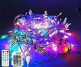 Catena di luce di natale, 100 LED a batteria, il ritmo della musica funziona, 10m, 12 modalità, serie di luci per la festa, matrimoni, Natale, Halloween, sfondo, BIANCA (multicolor)