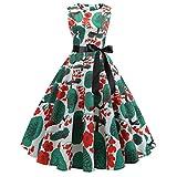 Damen elegant 50er Jahre Petticoat Kleider Blumen Drucken Abendkleider Rockabilly Kleider Cocktailkleider Ärmellos Kleidung Abendkleider Swing-Kleid Partykleid Mit Gürtel