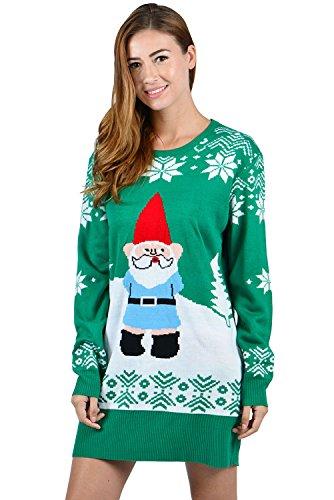 uideazone Frauen Damen Print Santa Claus Tunika Kleid hässliche Weihnachten Strickpullover Kleider grün ()