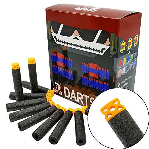 "EKIND 100 Pcs 7.2cm New Design TPR ""Waffles"" Soft Head Foam Darts for Nerf N-strike Elite AccuStrike Series Blasters Toy Gun(Black)"