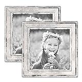 PHOTOLINI 2er Set Bilderrahmen Pastell/Alt-Weiß Silber 15x15 cm Massivholz mit Glasscheibe und Aufsteller und Zubehör/Fotorahmen / Wechselrahmen