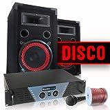 """DJ Set """"Disco"""" impianto audio completo PA 1000 Watt (2 x casse altoparlanti AUNA, amplificatore finale di potenza Ibiza, microfono, cavo per altoparlanti)"""