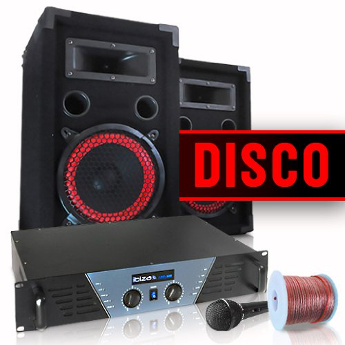 DJ- und PA-Komplettset Disco Verstärker Boxen Mic