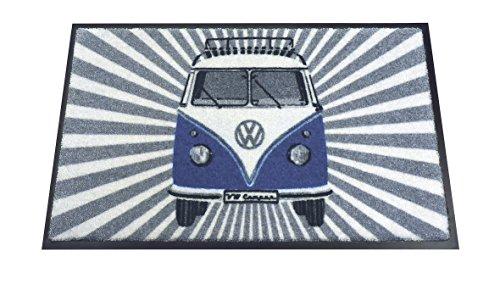 VW Collection by BRISA Fußmatte mit VW Bus T1 Vintage Logo (Blau/Strahlen) (Vintage Sport-teppich)
