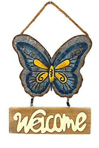 DI Inc Metallschild mit Schmetterlingsmotiv, rustikaler Kranz, Türdekoration, für drinnen und draußen, 43,2 x 29,5 cm 17