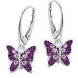 Lila Amethyst Kristall Schmetterling Klapp-Brisur Ohrringe 925 Echt Silber Mädchen Kinder Ohrhänger