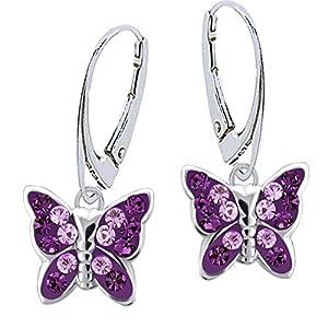 Lila Amethyst Kristall Schmetterling Ohrstecker Ohrringe 925 Echt Silber Mädchen Kinder Geschenkidee