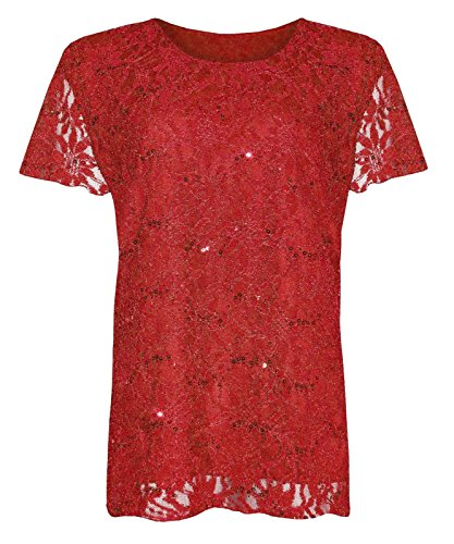n Blumen Netz Pailletten Rundhals Kurzarm T-Shirt Top - EU 48-50, Rot (Pailletten Rot Top)