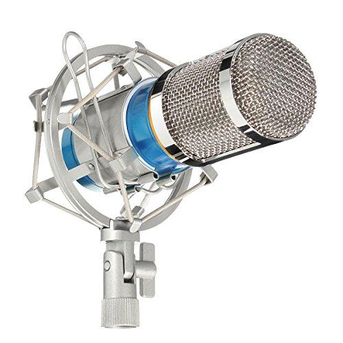 Kondensator Mikrofon Set, M.Wayverstellbar Aufnahme Mikrofon Pro mit Schockhalterung Popschutz, geeignet für Studio und Rundfunk Aufnahmen