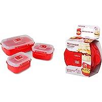 Sistema SI1153 Jeu de plats micro-ondes Heat & Eat, Rouge & Sistema SI1117 Easy Eggs Micro-Ondes Cuiseur à Oeufs…