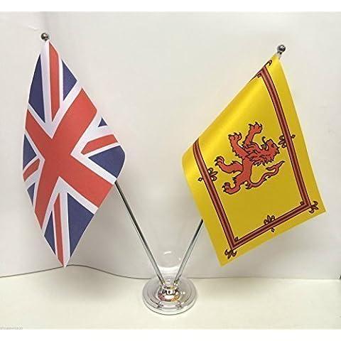 Regno Unito e Scozia Leone Rampante Bandiera tavolo cromato e satinato, Set