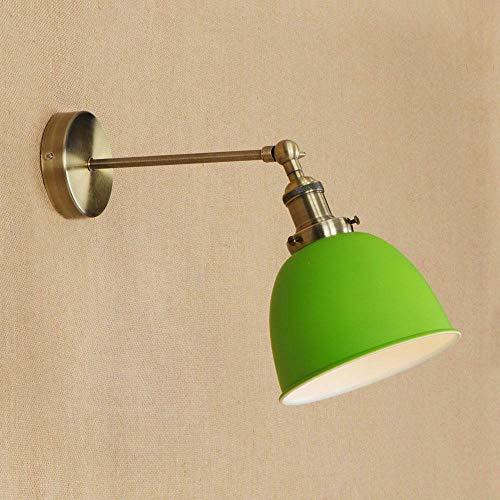 Nórdico Loft lámpara de pared de hierro Retro LED pared luz verde romántico Apliques ronda creative dormitorio sconce