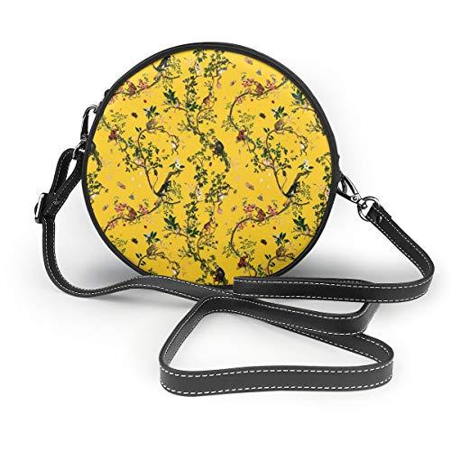 Handbags For Women,Monkey World Reportable Yellow PU Leather Shoulder Bags,Tote Satchel Messenger Bags Monkey Telefon