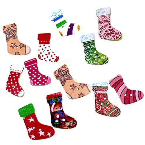 B Baosity 50 Knöpfe Weihnachten Strumpf Nähen 2 Löcher Dekoknöpfe Holzknöpfe Kinderknöpfe Kleidung Deko DIY Basteln -