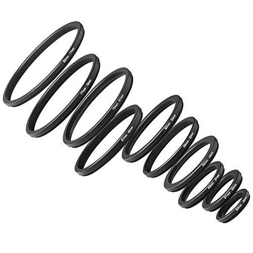 Neewer® 10 Stück Anodized Schwarz Metall Step-down-Adapter-Ring Objektiv Adapterring Set Inklusive 82-77mm, 77-72mm, 72-67mm, 67-62mm, 62-55mm, 55-52mm, 52-43mm, 43-37mm, 37-30mm, 30-26mm 72mm Step-down Ring