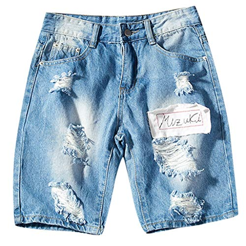 Jeans Shorts Herren Kurze Denim Hose Mit Destroyed Optik Aus Stretch Sommer Slim Fit Vintage Bermudas Cargohose Qmber,Lose Jeansshorts/Blau,4XL -