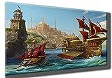 Kaiser-Handel Leinwandbild OSMANLI ARMASI Armada Schiffe Gemileri Osmanisches Reich Yeniceri Soldaten Kriegsschiff Tugra Arma Wappen Tablo 2 Bild 3D Effekt Digital Druck (80 x 60 cm)