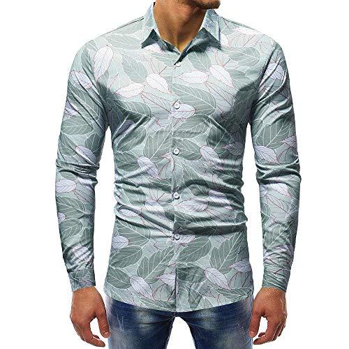 Hawaii Hochzeit Shirts (Carol -1 Herbst Winter Herren 3D-Druck T-Shirt Herren Hemd Slim Fit Langarm Hemden Freizeit Hochzeit Arbeit Business Muster Ärmel Sport Langarm T-Shirts Top Hawaii-Shirt für Mens)