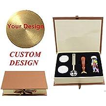 mnyr logotipo personalizado imagen cartas monograma mango de madera sellado sello de cera de fusión cuchara colores embotellada perlas de cera papel duro caja de regalo Set Kit