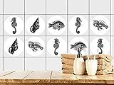 GRAZDesign 770451_57x57_FT Fliesenaufkleber Bad | Fliesensticker mit Meerestieren in schwarz-weiß | einfach auf die Fliese kleben | rundes Aufkleber-Set mit verschiedenen Motiven (57x57cm)