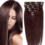 Clip in Extensions Echthaar günstig Haarverlängerung Remy Echthaar 8 Tressen 20 Clips Glatt 35cm-80g #4 Schokobraun