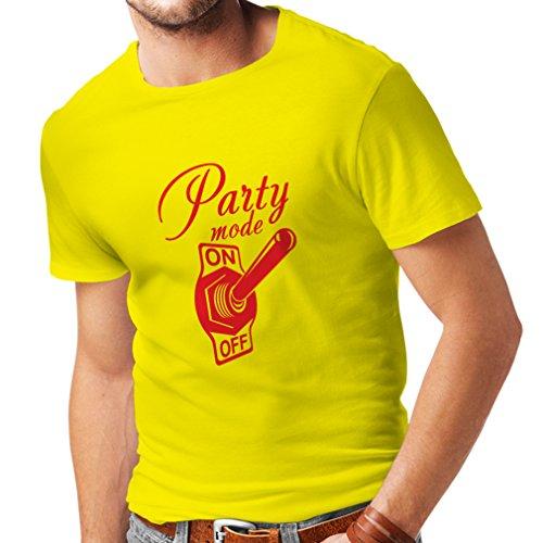 N4173 T-shirt da uomo Party mode ON gift Giallo Red