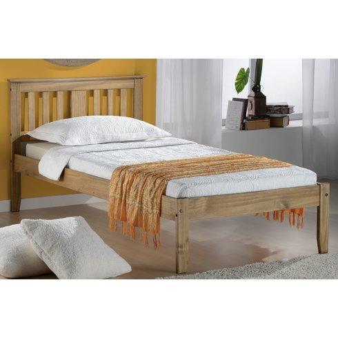 Bed Frame Salford Style Moderne Cadre de lit avec sommier à Lattes (Cadre Solide Matériau : Bois, Assemblage requis), Bois Dense, Pin ciré, Small Double (4')