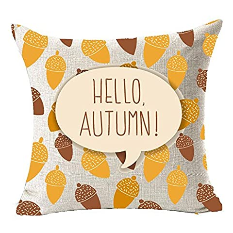 TOOGOO(R) Fall Harvest Nuts Hello Autumn Throw Pillow Case flax Home Office Living Room Sofa Car Decorative Square 18 X 18 inch:Multicolor