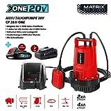 Matrix 511010593 Akku Tauchrpumpe CP 20 X-ONE, 100 W, Rot, Schwarz
