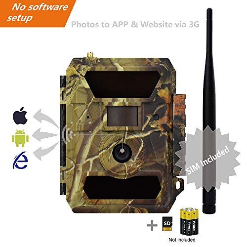 3G Wildkamera 3G Überwachungskamera (3G GPRS GSM) mit FOTOAPP, Jagdkamera, 2018 Version Kamera, 12MP Hohe Auflösung, Crystal ProHD Objektiv, Super Fast 0.4S Triggerzeit, Nachtsicht, Wetterfest, SIM-Karte enthalten