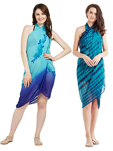 Frauen Faux Georgette Beach Wear Wrap Set von 2 Sarong Shibori & Floral Printed Pareo Badeanzug Vertuschen (S125A_Blue & Sky Blue) - Blue Sky Swimwear Wrap