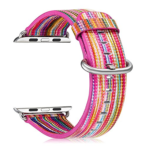 Fintie Armband für Apple Watch 38mm Series 3/2/1 Sport & Edition - Lederarmband Uhrenarmband Ersatzband mit Edelstahl-Metallverschluss, Regenbogen (Herren-player-serie)