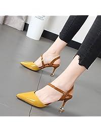 Xue Qiqi Sandalias mujer salvaje detalle correa ranurada con costuras color tip Baotou zapatos de mujer,39, Amarillo