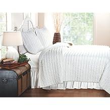 Greenland Home Ruffled White Quilt set, White, King
