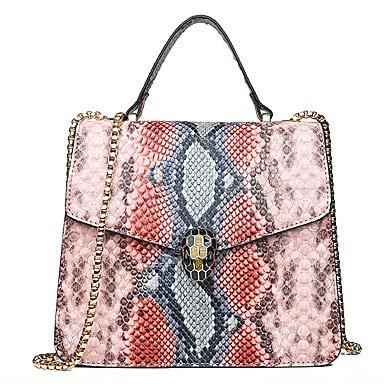 Womens Buttons/Chain Tote PU (Polyurethan) Geometrisches Muster Grün/Schwarz/Blushing Pink/Snakeskin/Fall & Winter, Blushing Pink -