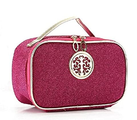 HOYOFO Glitter Leather Makeup Bag Travel Toiletry Storage Cosmetic Pouch for Female, Rose Red