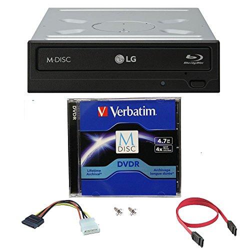 LG 16x Blu ray / BDXL / BD / M-Disc / CD / DVD Brenner für Desktop mit Kostenlos 1 Mdisc DVD Pack + Kabel & Befestigungsschrauben WH16NS40