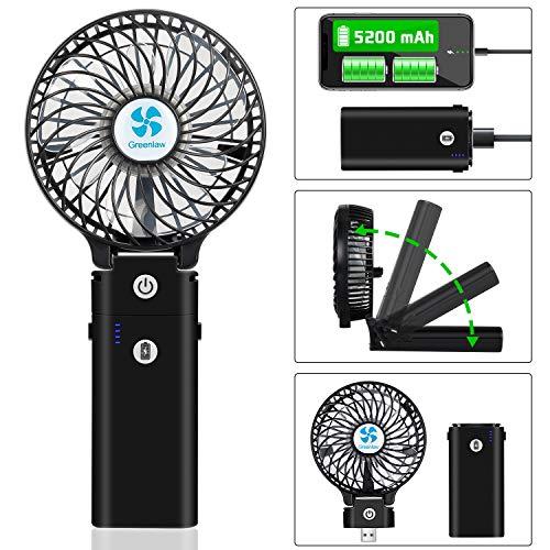 Earto Handventilator USB mit Powerbank-Funktion,Ventilator Leise Mini mit 5200 mAh aufladbarer Batterie Akuu, Personal Fan starker Wind Fan zubehör für Reise/Indoor (schwarz)