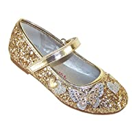Girls Children Sparkly Gold Glitter Ballerina Party Special Occasion Shoes with Butterfly Trims