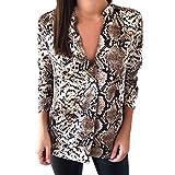 Piebo Blouse à Imprimé Serpent pour Femme Nouveau Style T-Shirt DéContracté DéContracté Manche Longue Chemise BoutonnéE