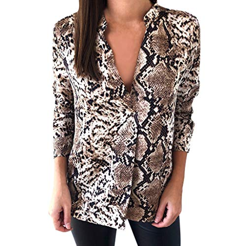 e81d247307c08 Piebo Blouse à Imprimé Serpent pour Femme Nouveau Style T-Shirt DéContracté  DéContracté Manche Longue