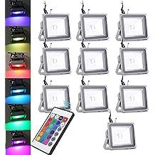 Pack of 10,30W RGB lámpara del proyector LED con cambio de color con control remoto Nuevo