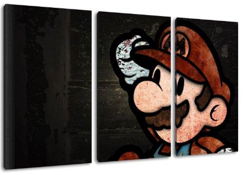 Dark Super Mario 3-teilig auf Leinwand- Gesamtformat: 120x80 cm fertig gerahmte Kunstdruckbilder als Wandbild - Billiger als Ölbild oder Gemälde - KEIN Poster oder Plakat Videospiel-leinwand