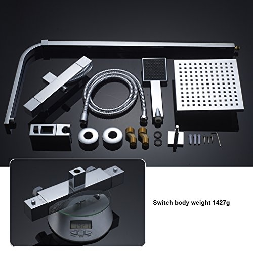 Auralum – Thermostat-Duscharmatur, Duschsystem mit Brausethermostat und Regendusche, Chrom - 8