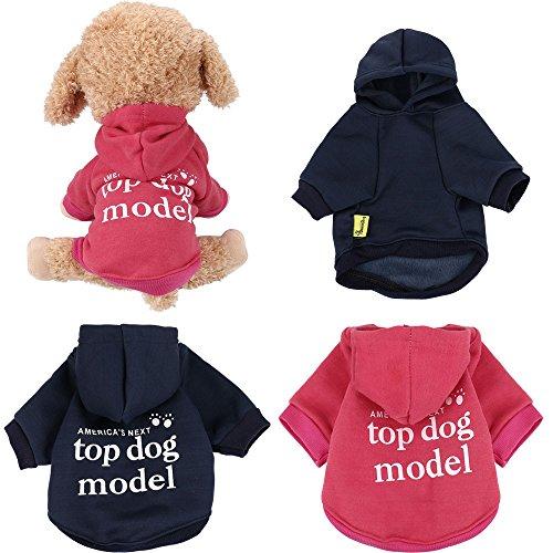 Ropa Perros, AIMEE7 Pequeño perro de mascota ropa de perro cálido sudadera con capucha ropa traje de algodón cachorro mezcla de camiseta (M, rojo)