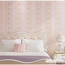 papel tapiz estilo pastoral no tejido delicado relieve de papel pintado de rayas verticales espesado - Papel Pintado Rayas Verticales