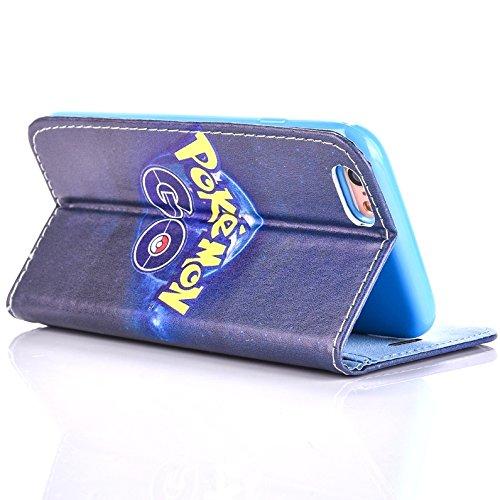 """iPhone 6/6s Pokemon PU-Lederner Schlag Mappen Hülle / Hülle mit Magnetband für Apple iPhone 6s 6 (4.7"""") / Schirm-Schutz und Tuch / iCHOOSE / Pikachu Poke Go"""